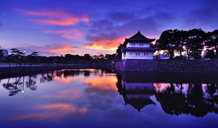 The Imperial Palace at dusk, Tokyo
