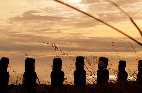 The famous heads of Easter Island