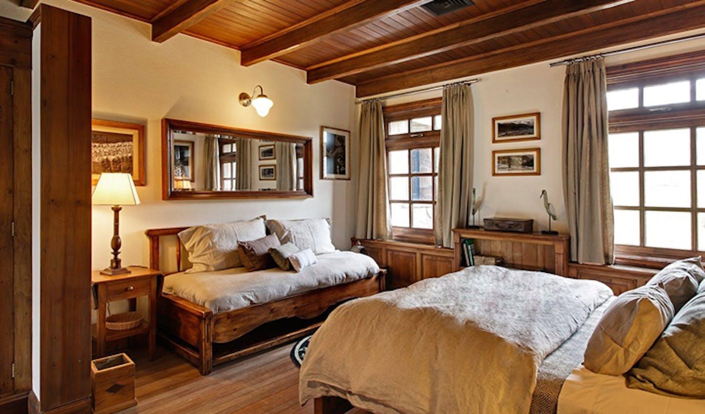 A bedroom at the Estancia Lodge, Chile