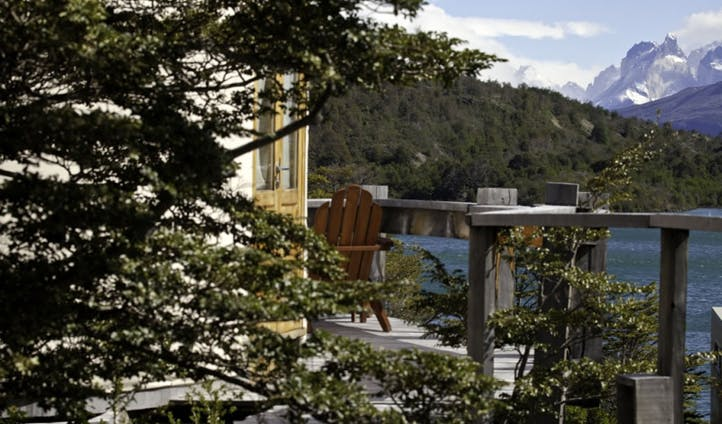 A deck by the yurts of Camp Patagonia, Chile