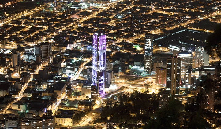 A night time view of Bogota, Colombia