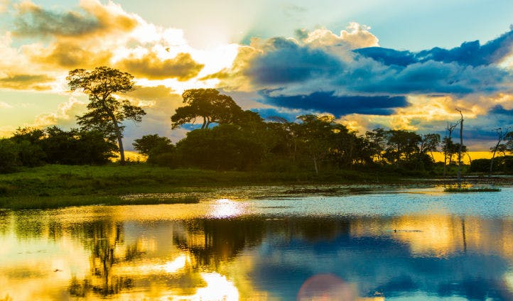 Colourful sunset on the Pantanal