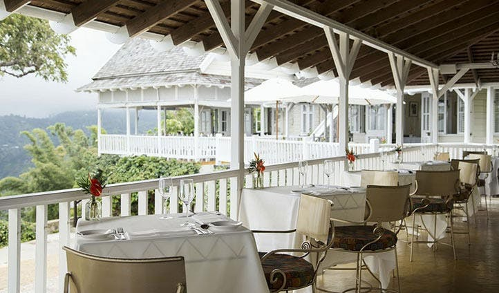 The view from the dining room at the Strawberry Hill Hotel, Jamaica