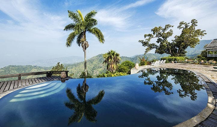 The pool at Strawberry Hill Hotel, Jamaica