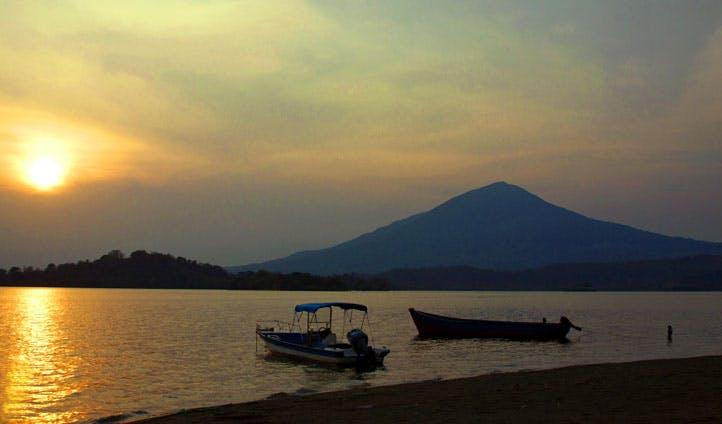 A view across Lake Nicaragua at sunset