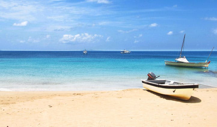 The blue hues of the waters of Little Corn Island, Nicaragua