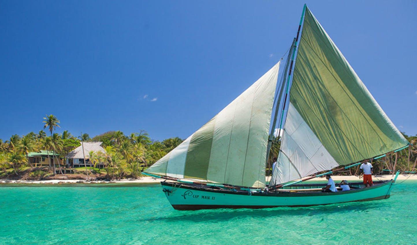 The resort's sailing boat