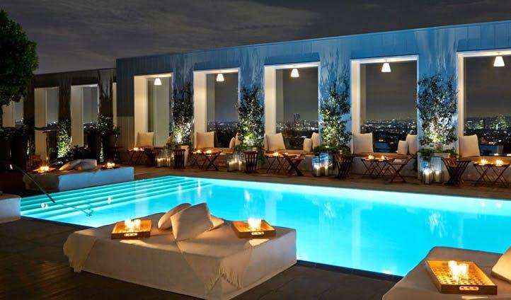 The pool at night at the Mondrian