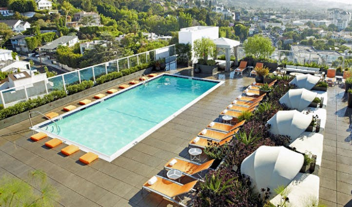 The rooftop pool of the Andaz West Hollywood