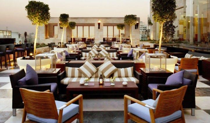 The rooftop terrace of the Grand Hyatt Amman
