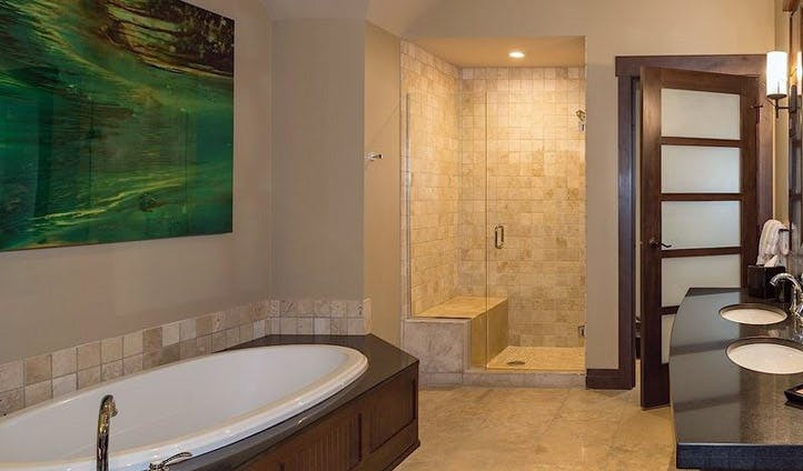 A bathroom at Nita Lake Lodge, Whistler, Canada