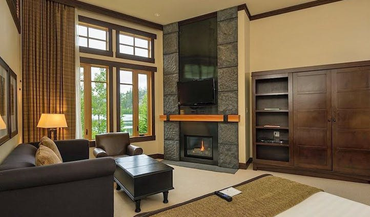 A lounge in a suite at Nita Lake Lodge, Whistler, Canada