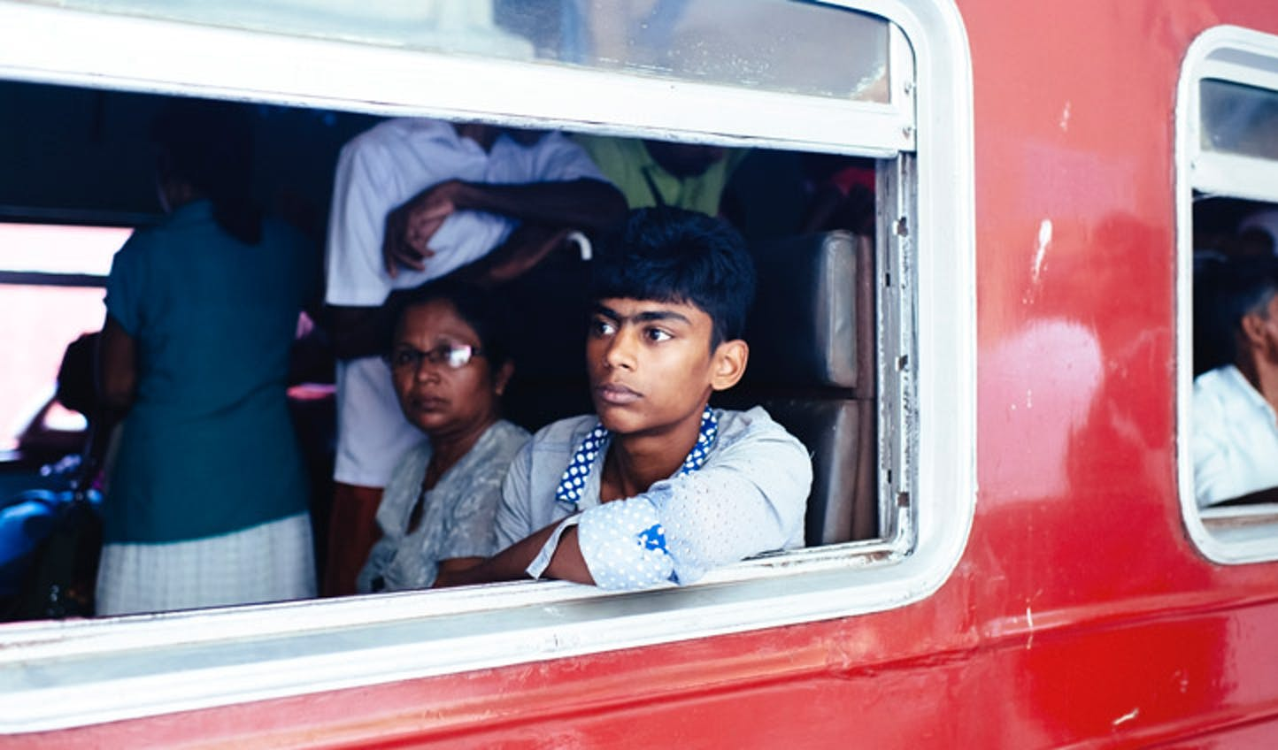 Locals on a train from Colombo