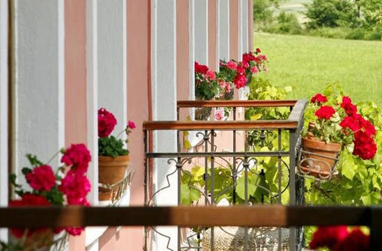 Flowers line the balconies of Hisa Franko, Slovenia
