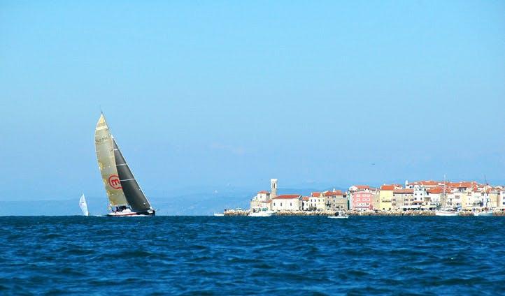 A yacht sails close to Piran, Slovenia