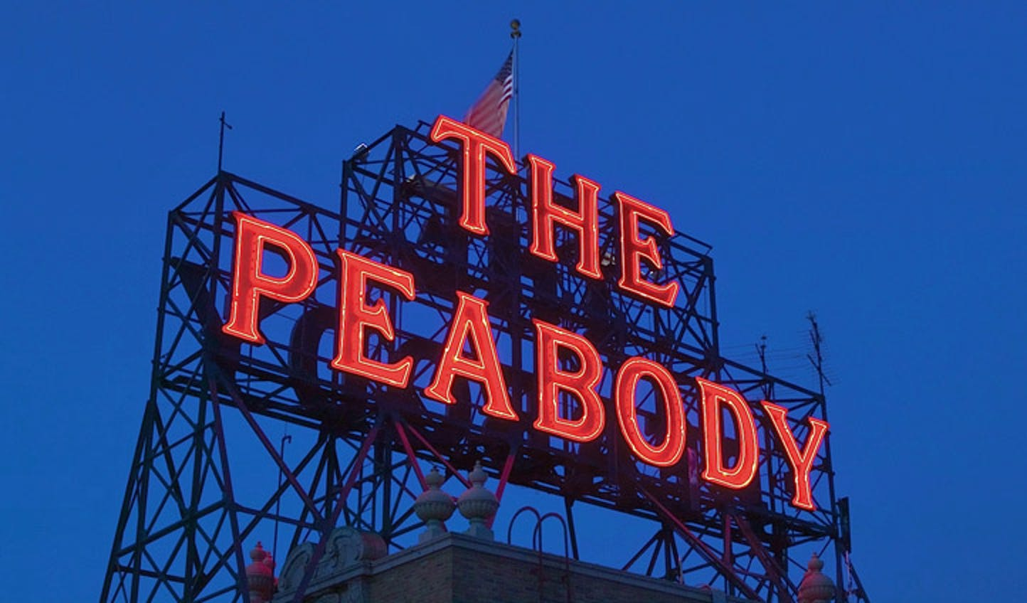 The Peabody hotel's sign