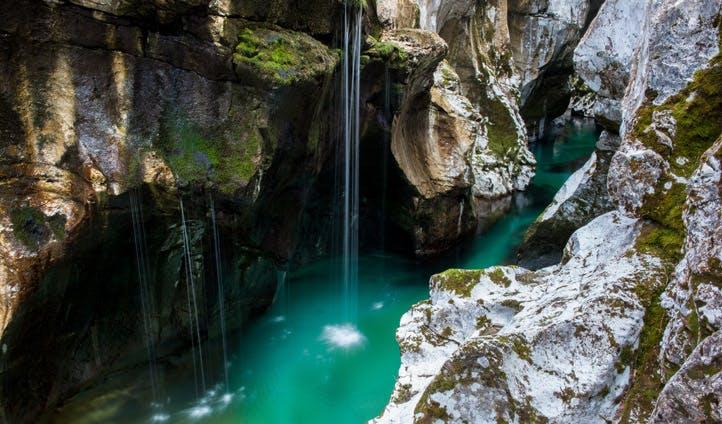 A waterfall in beautiful Slovenia