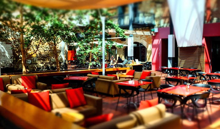 The outdoor dining space of the Henry Jones Art Hotel