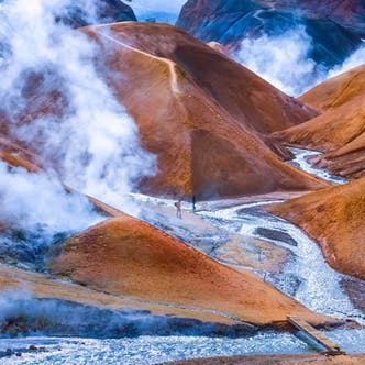Marvel at the molten lava from above and venture into the chambers below