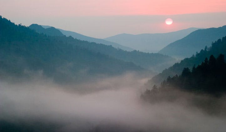 The sun sets over the stunning Smoky Mountains, Tennessee