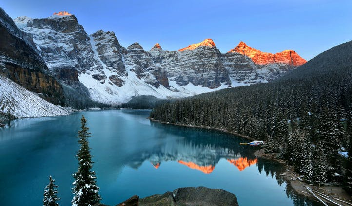 Moraine Lake at sunrise, Alberta, Canada