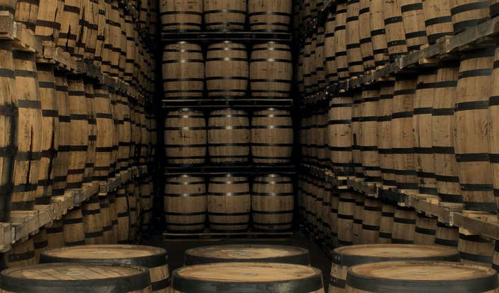 Whisky barrels in the Crown Royal warehouse
