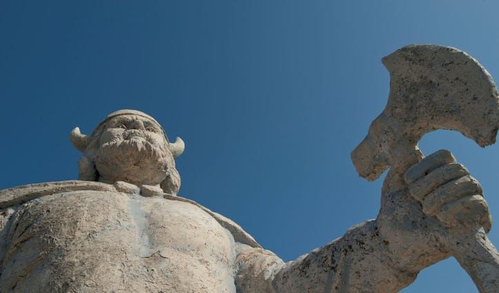 The famous viking statue of Gimli, Manitoba