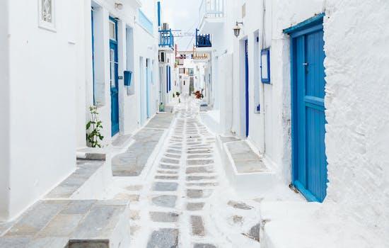 Mykonos white buildings, Greece