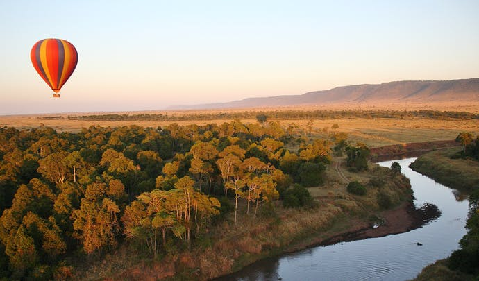 Hot air balloon ride over the river in Kenya