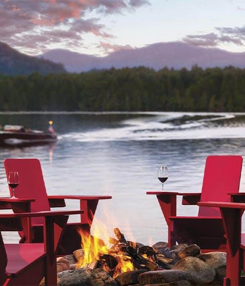 Lake Placid Lodge Adirondack Chairs Evening Lake