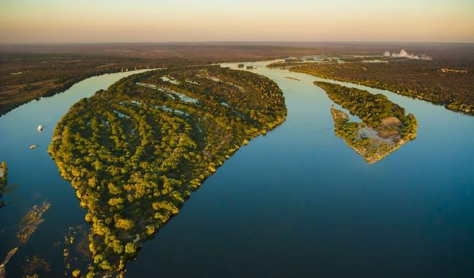 Aerial view of the Zambezi River